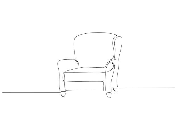 Eine durchgehende strichzeichnung eines vintage-sessels. moderne skandinavische möbel im schlichten linearen stil. bearbeitbare strichvektorillustration