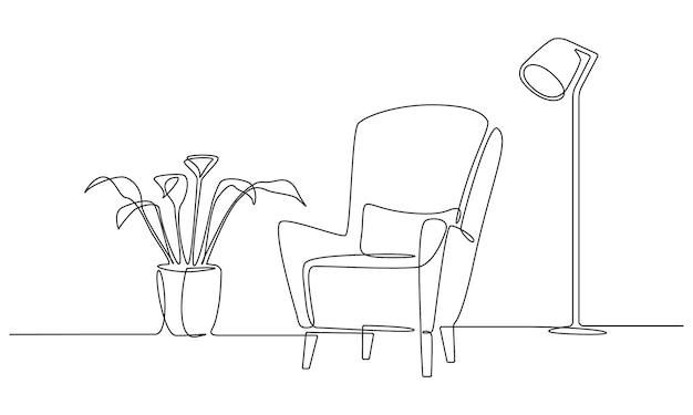 Eine durchgehende strichzeichnung von sessel und lampe und pflanze. moderne flachmöbel für die wohnzimmereinrichtung im schlichten linearen stil. bearbeitbare strichvektorillustration