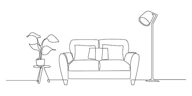 Eine durchgehende strichzeichnung von sofa und lampe und topfpflanze. stilvolle möbel für die wohnzimmereinrichtung im einfachen linearen stil. bearbeitbare strich-vektor-illustration. vektor-illustration