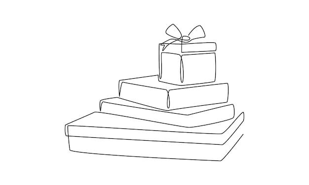 Eine durchgehende strichzeichnung von weihnachtsgeschenken verpackt überraschungsboxen im einfachen doodle-stil dünn