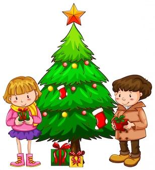 Eine einfache skizze der kinder in der nähe des weihnachtsbaumes