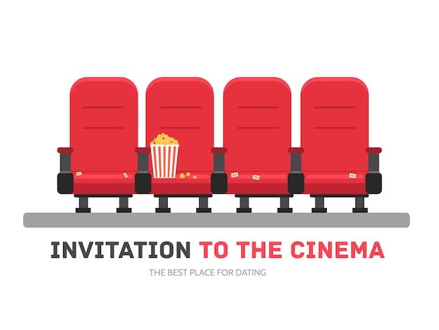 Eine einladung zum film im flachen designhintergrundkonzept