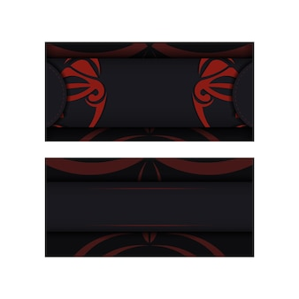 Eine einladungsvorlage mit einem platz für ihren text und einem gesicht im polizenischen stil. luxuriöses vektordesign der postkarte in schwarzer farbe mit maske der göttermuster.