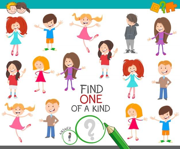 Eine einzigartige aufgabe mit cartoon-kindern und jugendlichen
