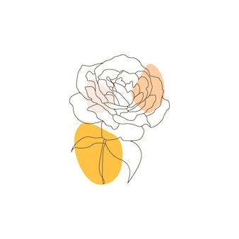 Eine einzige strichzeichnung der schönheitsrosenblume lokalisiert auf weißem hintergrund