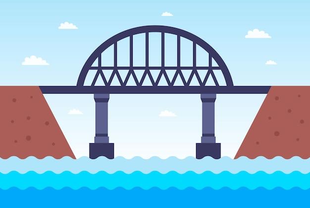 Eine eisenbrücke über den fluss auf die andere seite. flache vektorillustration.