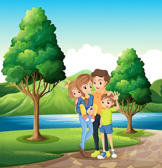 Eine familie am flussufer