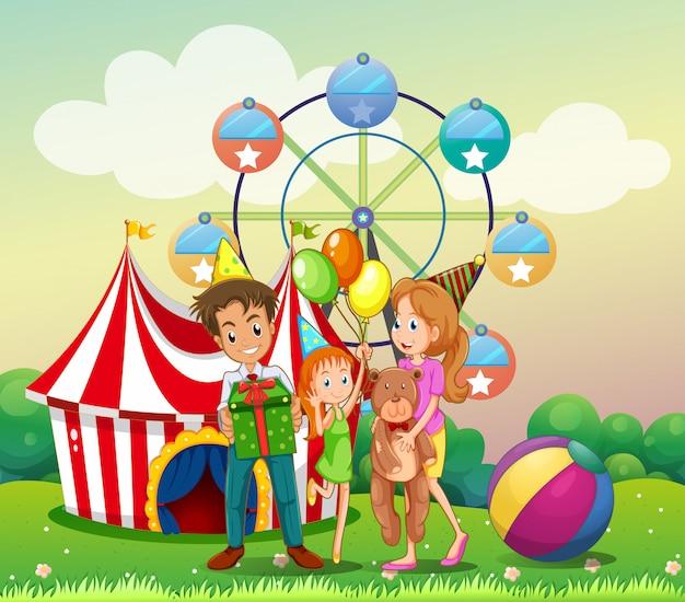 Eine familie beim karneval