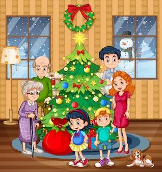 Eine familie, die weihnachten feiert