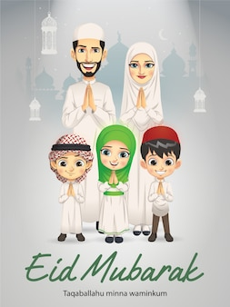Eine familie grüßt in eid mubarak