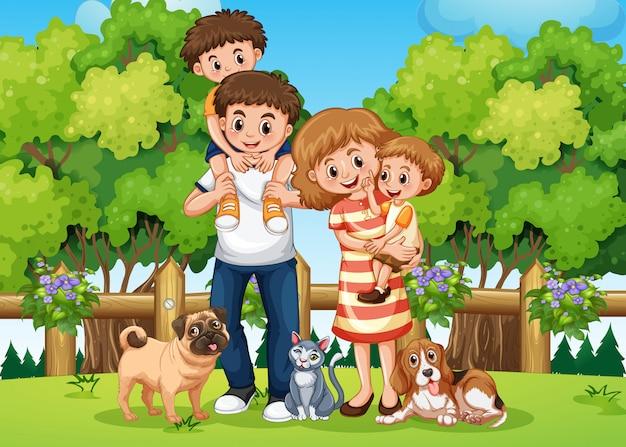 Eine familie im park
