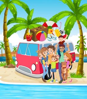 Eine familie im strandurlaub