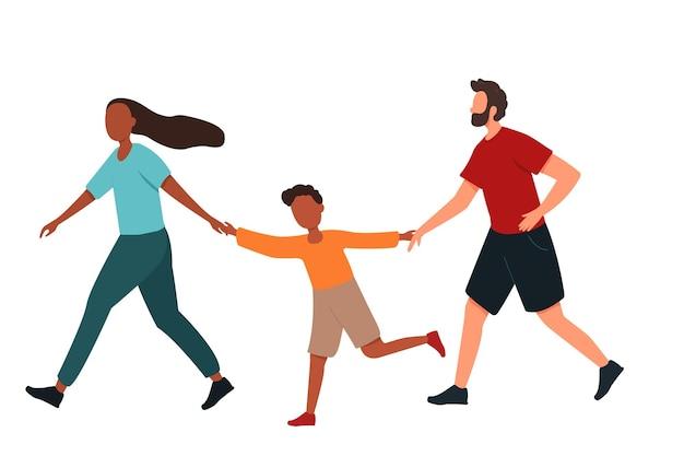 Eine familie läuft händchen haltend zusammenvater mutter und sohn treiben zusammen sport