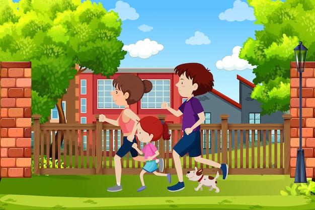 Eine familie läuft im park