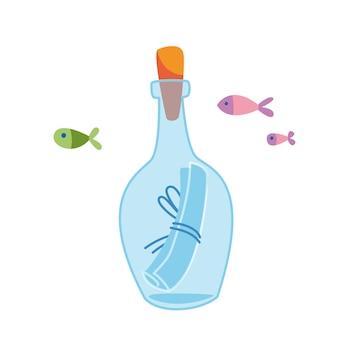 Eine flasche mit einer nachricht piratenkarte ein aufruf zur hilfe sos vektorillustration