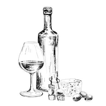 Eine flasche wein und blauschimmelkäse
