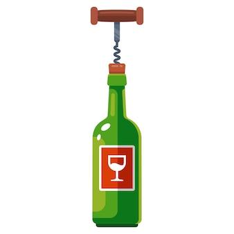 Eine flasche wein wird mit einem korkenzieher geöffnet. flache vektorillustration.