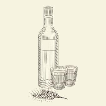 Eine flasche wodka und zwei vollgetränke. hand gezeichnete alkoholglasflaschenskizze lokalisiert