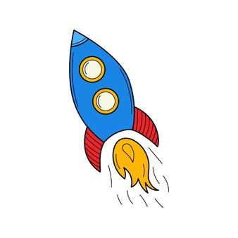 Eine fliegende rakete. gekritzel. ein startsymbol. von hand gezeichnete bunte vektorillustration.