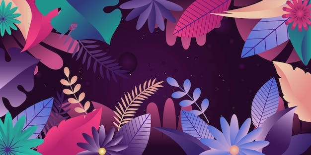 Eine florale kulisse für web- und apps-flache illustration