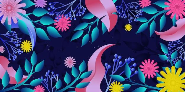 Eine florale vorlage für web- und apps-flache illustration