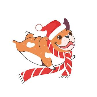 Eine französische bulldogge mit weihnachtsmannmütze