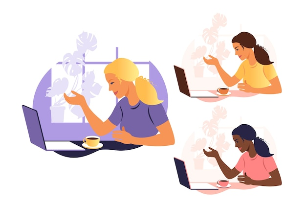 Eine frau arbeitet und kommuniziert auf einem laptop und sitzt zu hause an einem tisch mit einer tasse kaffee und papieren