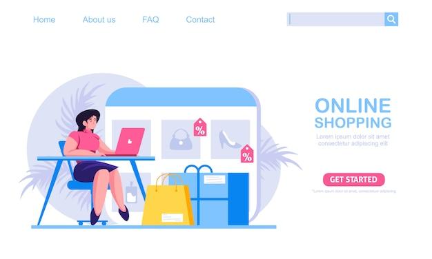 Eine frau, die auf einer couch sitzt, im online-shop einkauft. der produktkatalog auf der webbrowserseite. illustration des online-einkaufskonzepts, perfekt für webdesign, banner, mobile app, zielseite.
