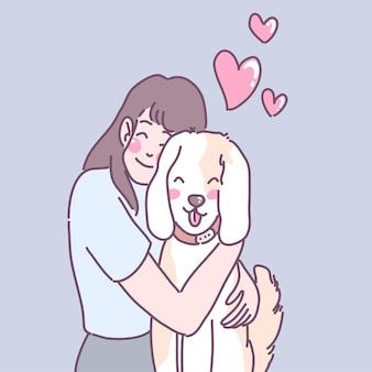 Eine frau, die durch umarmen liebe zu hunden zeigt