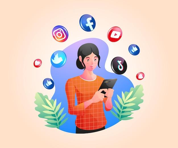 Eine frau, die ein smartphone hält und soziale medien nutzt