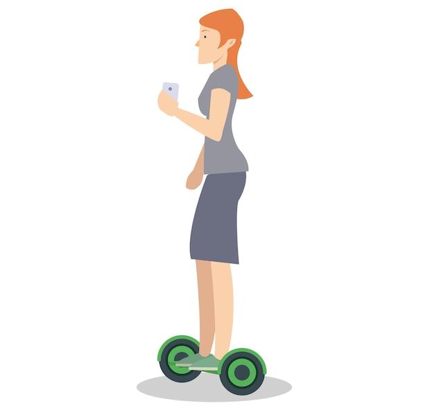 Eine frau, die einen ausgeglichenen roller des schwebenden brettes reitet