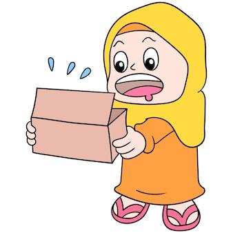 Eine frau, die einen muslimischen hijab trägt, öffnet eine lebensmittelbox, um ihr fasten mit einem hungrigen gesicht zu brechen, vektorgrafiken. doodle symbolbild kawaii.