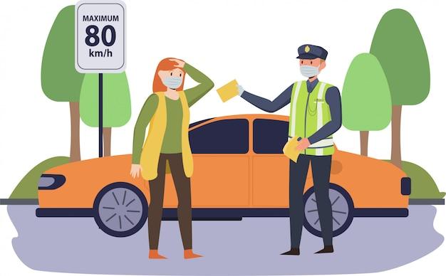 Eine frau, die mehr als 80 km / h mit dem auto fährt, wird von der verkehrspolizei auf der straße erwischt