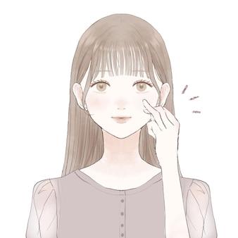 Eine frau, die mit ihrem ringfinger medizin und creme auf ihr gesicht aufträgt. auf weißem hintergrund.