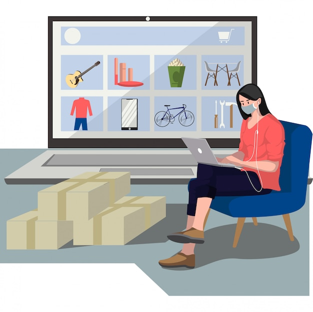 Eine frau, die neue artikel von online-shop-illustration kauft