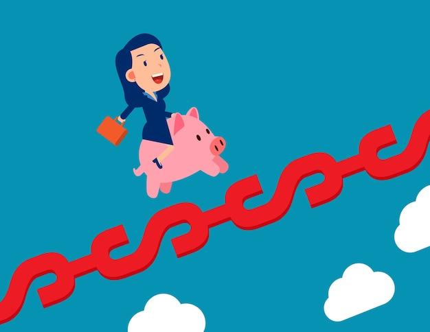 Eine frau, die sparschwein und wachstum auf geldzeichen reitet