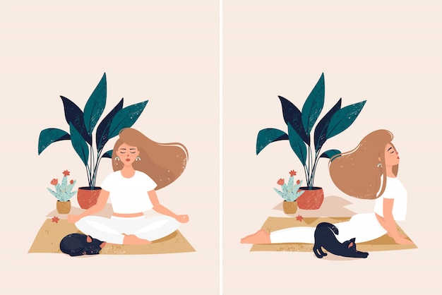 Eine frau, die yoga am gemütlichen haus mit netter schwarzer katze durch töpfe mit anlagen tut
