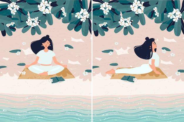 Eine frau, die youga auf dem strand durch meer unter blühendem frangipanibaum tut