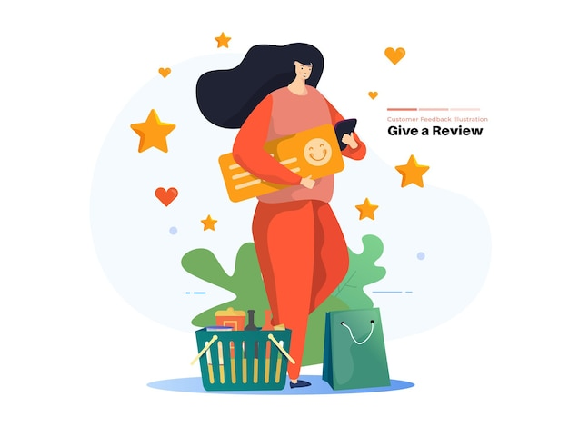 Eine frau gibt online-rezensionen für online-feedback