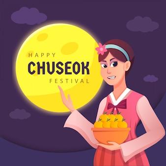 Eine frau glückliche koreanische chuseok-karte