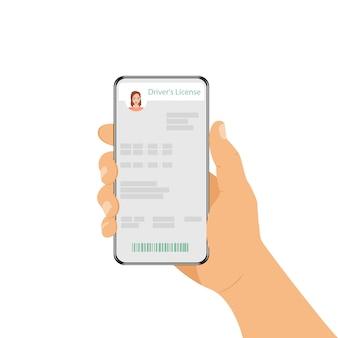 Eine frau hält ein telefon mit seinem personalausweis in der hand. führerschein in einem smartphone.