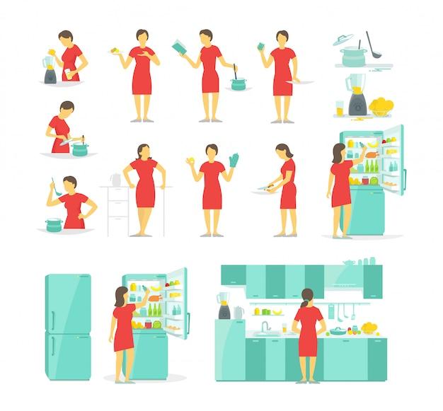 Eine frau in der küche stellte verschiedene haltungen ein. zubereitung von speisen auf rezept.