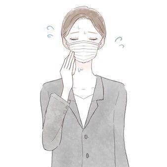 Eine frau in einem anzug leidet unter dampf, weil sie eine maske trägt. auf weißem hintergrund.
