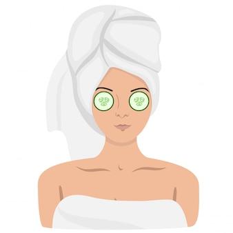 Eine frau in einem spa mit einem handtuch auf dem kopf und einer maske im gesicht. isoliertes bild. grafik.