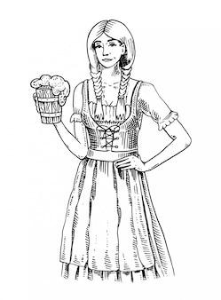 Eine frau in traditioneller belgischer oder bayerischer kleidung mit bier. graviert in tinte hand gezeichnet in alten skizze und vintage-stil für web- oder pub-menü. vom oktoberfest.