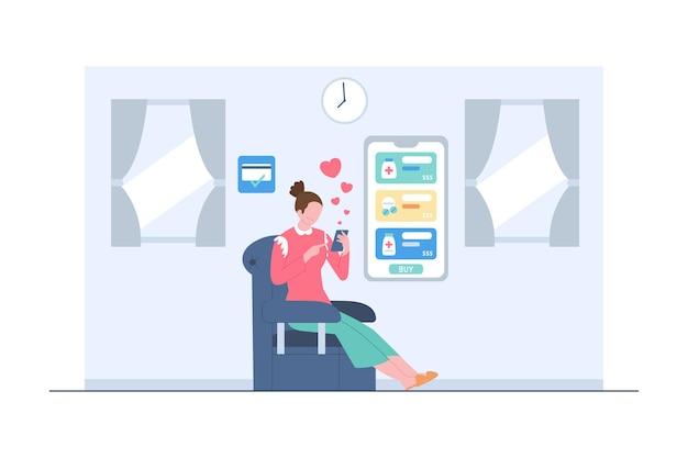 Eine frau kauft medizin über eine online-szenenillustration