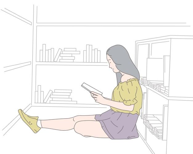 Eine frau liest ein buch, konzeptillustration