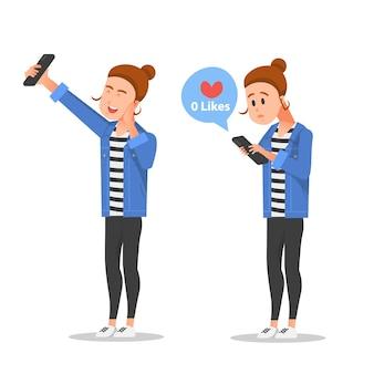 Eine frau macht ein selfie, aber niemand mag ihr foto