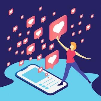 Eine frau mit einem symbol wie social media