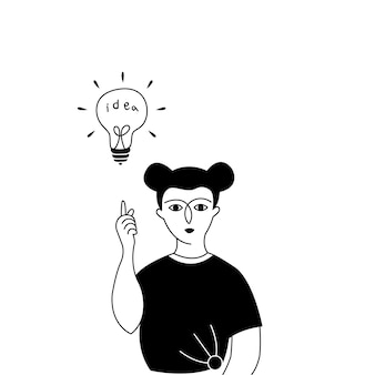 Eine frau mit ideenbirne im scheinwerferlicht.